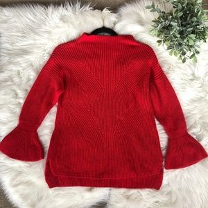 Loft Red Mock Neck Bell Sleeve Knit Chunky Sweater